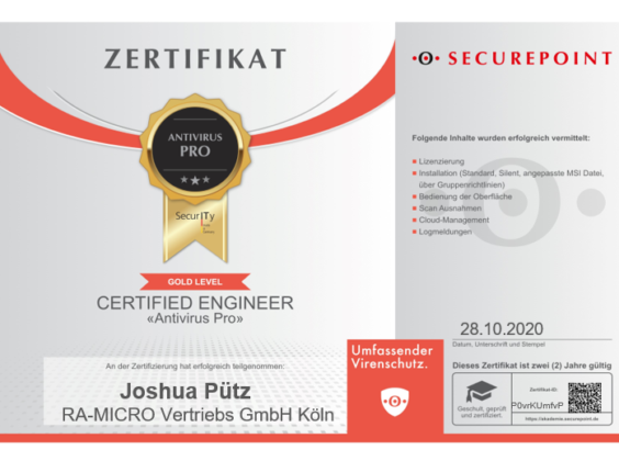 Zertifikat Securepoint